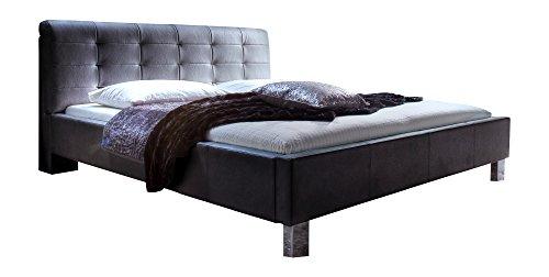 Dormeta Polsterbett Bett 180x200 Schwarz, Kunstleder Bett mit XXL Kopfteil, Bett Liegefläche 180 x 200 cm, Detroit Art Nr. 1207-10-5000