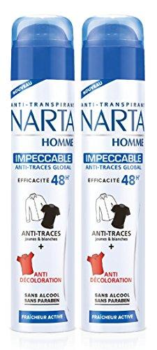 NARTA - Déodorant Homme Atomiseur Anti-Transpirant Impeccable Anti-Traces Efficacité 48h - 200 ml - Lot de 2