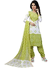 Taboody Empire Exemplary Parrot Satin Cotton Handi Crafts Bandhani Work With Straight Salwar Suit For Girls And...