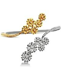 Aastha Jain Sterling Silver(18k Gold Polish) Flowers Palm/Hand Bracelet for Women