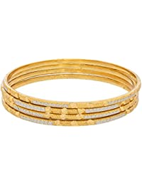 Aadita Traditional Dual Tone Silver And Gold Plated Bangles Set For Women DT2049BG