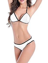 0e64774bd Yiwa 2 Pcs Set Women Fashion Sexy Solid Color Bikini Swimwear Set White L