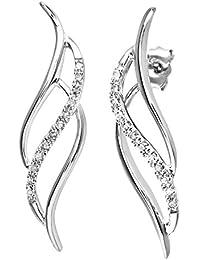 Naava 9 ct White Gold Women's Diamond Earrings