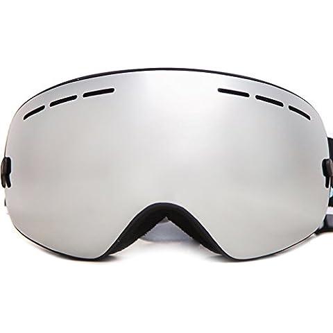Benice Snowmobile snowboard Skate Occhiali da sci con una lente anti nebbia staccabile e custodia in EVA per adulti o bambini, Black Frame Silver Lens,