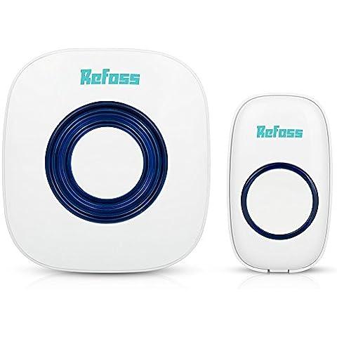 Refoss timbre de la puerta Kit Inalámbrico - Electroónica impermeable del timbre de plug-in con indicador LED de Más del 50 tonos - No se requieren baterías para el receptor