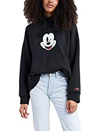 Levis X Mickey Mouse Graphic Oversized Sudadera Capucha Mujer Negro