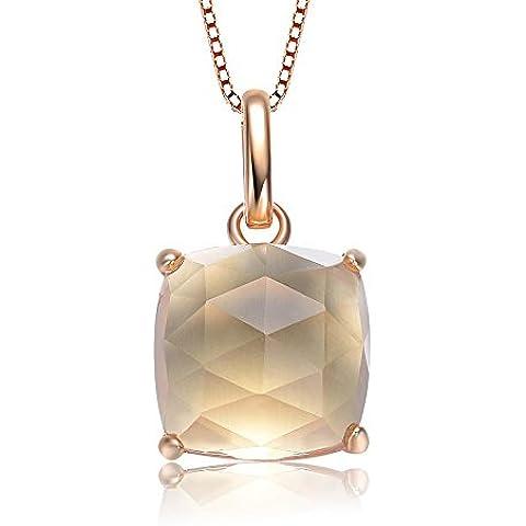 Elegante S925plata de ley Collar incrustaciones natural Asscher citrino colgante de cristal con cadena de plata