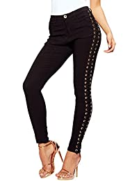 e3f4dcc4fb5 SS7 NEW Women s Lace Up Eyelet Skinny Jean Trousers