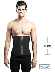 Cinturón de abdomen para hombre Cinturones Cinturón de cuerpo Cierre de cintura Cinturón de plástico para el vientre Zona de regulación transpirable ( Color : Negro , Tamaño : S )