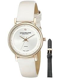 Stührling Original 734LS2.SET.01 - Reloj analógico para mujer, correa de cuero, color blanco