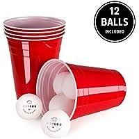 100 Unidades + 12 Pelotas | Vasos De Plástico | Vasos Rojos Y Duros, Ideal Para Beer Pong De Película Americana | Para Fiestas, Juegos De Beber, Celebraciones | Resistentes Y Desechables | De Vivaloo