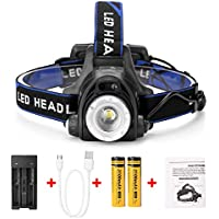 IMAGE LED Super Bright Head Torch Headlight, 2 Ways for Charging, 1800lm Rechargeable Headlamp, Weatherproof & Adjustable, for Camping, Fishing, Running (Include 2 * Batteries & Battery Charger)