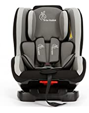 R for Rabbit Convertible Baby Car Seat Jack N Jill ECE R44/04 Safety Certified Car Seat for Kids of 0 to 5 Years Age with 3 Recline Position (Black Grey)