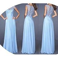 skirt Vestido de Mujer, Vestido de Noche Europeo Y Americano, Vestido de Costura de Encaje, Vestido de Mujer,Azul Claro,L