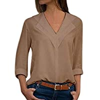 Loyomobak Womens V-Neck Plus Size Solid Color Loose Sexy 3/4 Sleeve Chiffon Blouse Shirt Top Khaki XXL