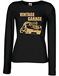 lepni.me Camisetas de Manga Larga para Mujer Garaje Vintage - Equipo de Taller,