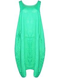 CELEB LOOK H86 CELEBMODELOOK New Ladies Women Italin Lagenlook Quirky Sleeveless One Side Pocket Linen Midi Size Plus Dress