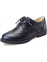 Moonwalker Zapatos Oxfords de Cuero Genuino con Cordones para Mujer