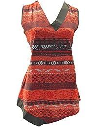adonia mode Top V-Shirt Tunika ärmellos Orange Braun Gr.44 - 56