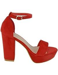 ESSEX GLAM Gamuza Sintética Sandalias de punta abierta con plataforma, tacón cuadrado y tira al tobillo para fiesta
