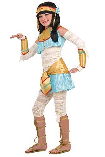 7 Stück Kinder Mädchen Ägyptische Kleopatra Halloween-Mumie Büchertag Kostüm Kleid Outfit 3-10 Jahre - Weiß, Weiß, 5-7 Years