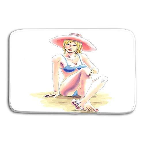 LIS HOME Küche Boden Bad Eingang Fußmatten Teppich Elegante Mädchen Bikini Hut Sonnenbrille Sitzt san Junge Elegante Blonde Mädchen Bikini Großen Hut Sitzt Sandstrand rutschfeste Badezimmermatten