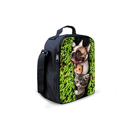 YL Story Niedlich 3D Haustier Hund gedruckt Frauen Mittagessen Taschen Crossbody Picknick Tasche für Kinder (Dogs 5) pattern 6