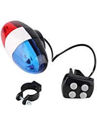 Bicycle Bell, Delicate New Bike Bicycle 6 LED Light 4 Sonidos Trompeta Ciclismo Cuerno Bell ABS Plástico Componentes electrónicos