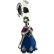 Pandora Disney Anna de vestido con azul orquídea y negro esmalte 791591ENMX