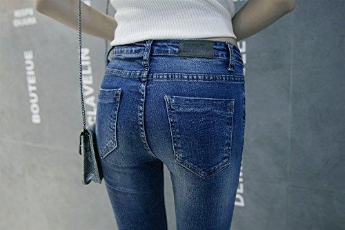 Mena UK Frauen erweiterte Abschnitt Jeans gerade schlanke Loch war dünn große Größe helle Hose kleine Bell-Böden Boot Cut Hose Hellblau