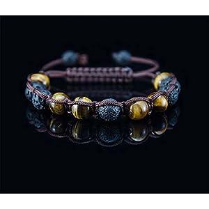 Herren Shamballa Onyx Tigerauge Armband Handgeflochten verstellbar Halbedelstein Edelstahl Rund Perle Schwarz Biker Mode Handmade Bracelet mode fashion Edelstein Perlen Silber Modeschmuck