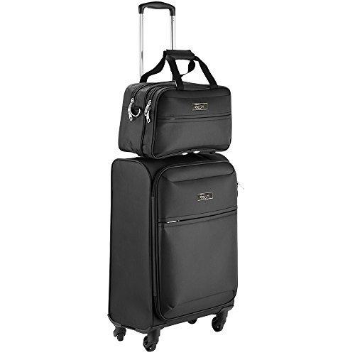 Cabin Max Copenhagen | Bagaglio a mano approvato per il volo 55x40x20cm | Inclusa piccola borsa da viaggio 35x20x20 cm(Nero)