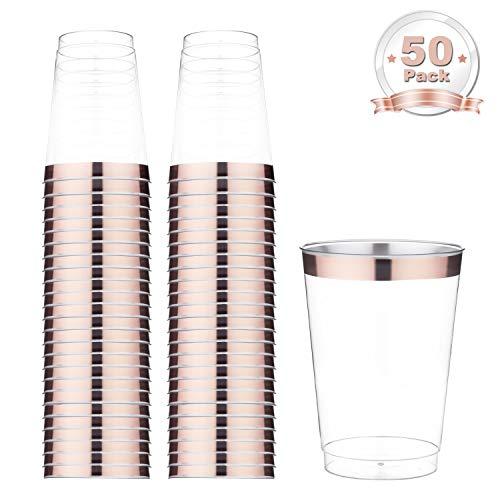 DRROT Rose Gold Kunststoff klar Tassen, 12 oz.50 Pack,Gerahmt Kunststoff Tassen,Einwegbecher für Geburtstagsfeier / Hochzeit im Freien / Familienessen Rose Dessert