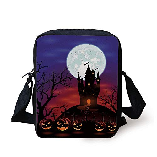 Halloween Decorations,Gothic Haunted House Castle Hill Valley Night Sky October Festival Theme,Multi Print Kids Crossbody Messenger Bag Purse