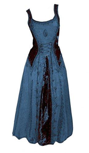 Dark Dreams Gothic Mittelalter LARP Kleid Samt bestickt Schnürung Guinerva, Größe:L/XL, - Liste Der Kostüm