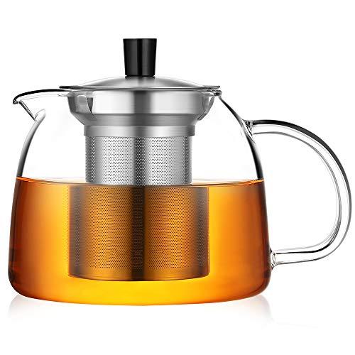 ecooe Teekanne 1000ml Dickes Glas Teebereiter mit Abnehmbare Edelstahl-Sieb Glaskanne (Teekanne Herd)