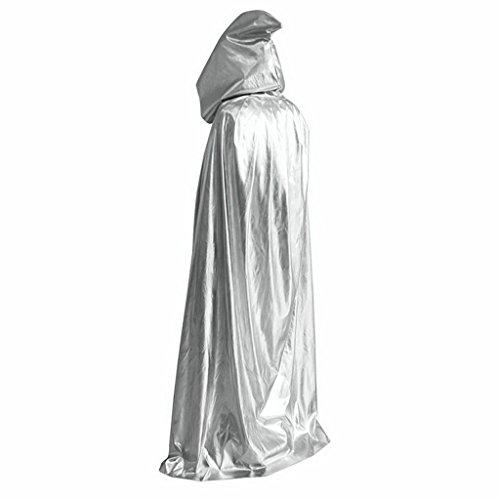 Mantello con cappuccio per costume da vampiro Dracula/diavolo, per Halloween, party, festività, lungo 150 cm Silver Taglia Unica