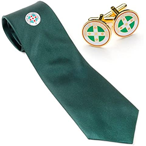 Ros seta e tessuto cravatta e gemelli