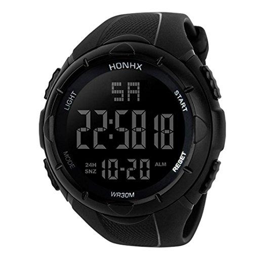 Sonnena Herren Armbanduhren,Luxus Digitaluhren Casual Outdoor Wasserdicht Armbanduhren Electronic Electronic Handgelenk Uhr Chronograph Klassik Sportuhr Herrenuhr (Schwarz)