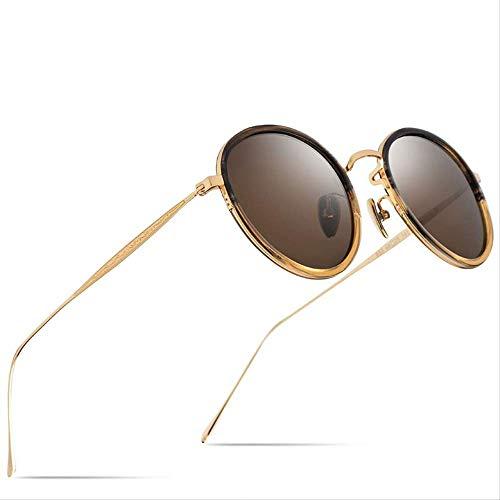 LKVNHP Hohe Qualität Reintitan Acetate Polarisierte Sonnenbrille Frauen Neue Art UndWeise Weinlese -Runde Sunglass Männer Retro Gespiegelte Sonnenbrillen OculosTea
