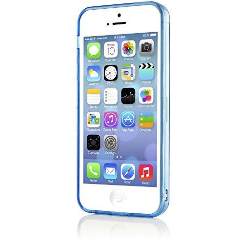 iPhone 5 5S SE Coque Silicone de NICA, Ultra-Fine Housse Protection Transparente Cover Slim Etui Résistante, Mince Telephone Portable Clear Gel Case Bumper Souple pour Apple iPhone SE 5S 5 - Bleu Bleu