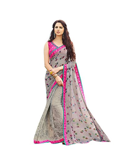 Shaily Retails Women's Gray Georgette Printed sarees (LIBAAS738SSSR001_Gray)