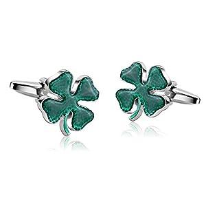Aeici Herren Manschettenknopf Grün Klee Irisch Irland Kleeblatt Paar Manschettenknöpfe
