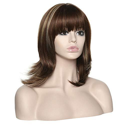 Hitzebeständige Yaki Straight Long Highlight Kunsthaar Perücken Für Frauen Mischfarben Mit Haarkappe 16 Zoll -