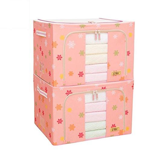Rose motif de flocons de neige 2 pièces Oxford boîte de rangement en tissu stockage de courtepointe jouet boîte ensemble le cadre de finition en acier renforcé support de cadre (50 * 40 * 33cm) Roll