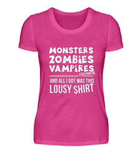 Monster, Zombies, Vampire überall und ich hab nur Dieses olle Shirt bekommen - Halloween - Damen Premiumshirt -XL-Pinky