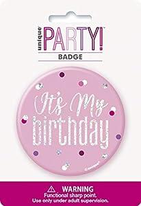 Unique Party 83527 - Insignia de cumpleaños, color rosa y plateado
