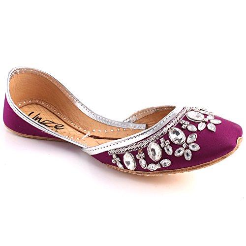 Unze Frauen STIEFMÜTTERCHEN Indischen Bestickt Sandale Punjabi Mehndi Stein Slip on Tila Flachbild Khusa UK Größe 3-8 - WS-93