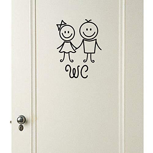 Topgrowth adesivi parete removibile carina bagno gabinetto sticker wc famiglia decorazioni fai da te