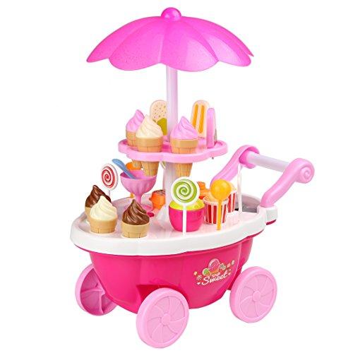 Smibie Carretilla de Helado Conjunto de Juguete 24 PCS con Música Sonido y Luz Iluminación Set de Ice Cream Caramelo para Jugar para Niños